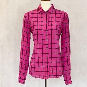J Crew Silk Windowpane Shirt